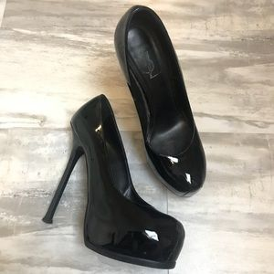 YSL Yves Saint Laurent Black Patent Pumps